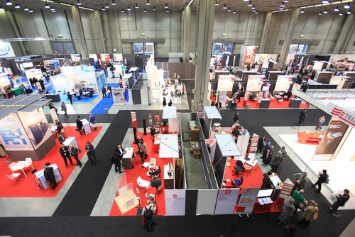 Overhead view of tradeshow design
